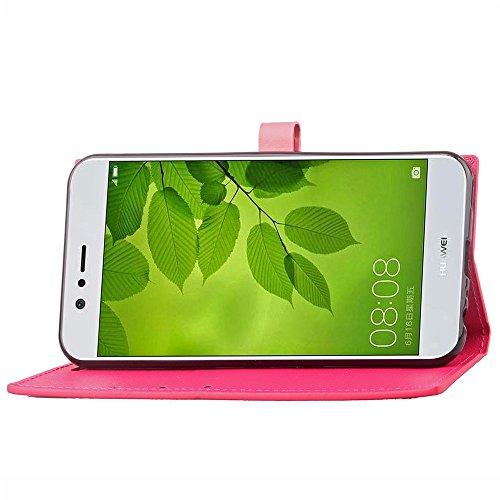 GHC Cases & Covers, Für Huawei Nova 2 Business Style Mixed Farben Slim Design PU Ledertasche Brieftasche Stand Case [Shockproof] mit Niet Echtes Leder Gürtelschnalle & Kickstand & Card Slots ( Color : Rose