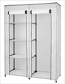 Floridabrands Large Portable Wardrobe Closet Organizer With Dual Storage 5 Shelves And Hanging 62 Hx 48 Wx 20 D White