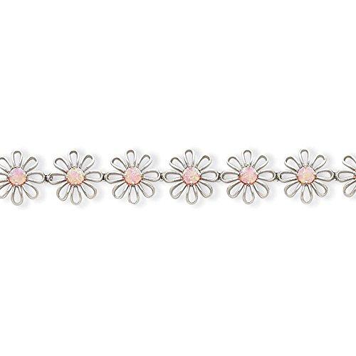Argent Sterling a créé Opal-Bracelet-Fleur Rose - 7 mm-Fermoir JewelryWeb