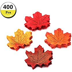 Etyhf 400 Pieces Maple Leaves Assorted Mixed Fall Colored Artificial Maple Leaf for Wedding Events,Home Decoration and DIY Party Decoration (4 Colors)