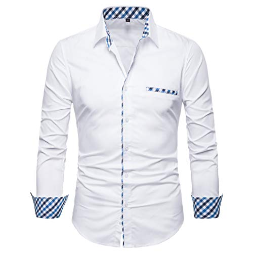 SIR7 Men's Cotton Button Down Casual Long Sleeve Shirts Inner Contrast Plaid Dress Slim Fit Shirt White