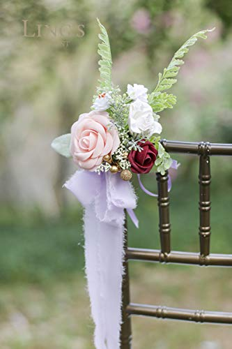 Flowers Pink Wedding Red (Ling's moment 8-Set Wedding Aisle Hanger Flowers,Wedding Flower Decorations for Chairs Pink Camellia with Rosy Red Rose Artificial Flowers with Silk-Like Ribbon Tail(Set of 8))