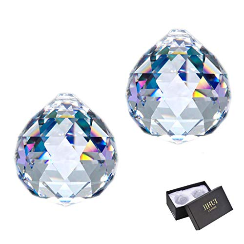 JIHUI Clear Glass Crystal Ball Prism Pendant Suncatcher 40mm Pack of 2 for Gift ()