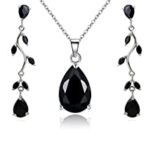 """Teardrops Set with Black Zirconia Crystals Pendant Necklace 18"""" Earrings 18 ct White Gold Plated for Women"""