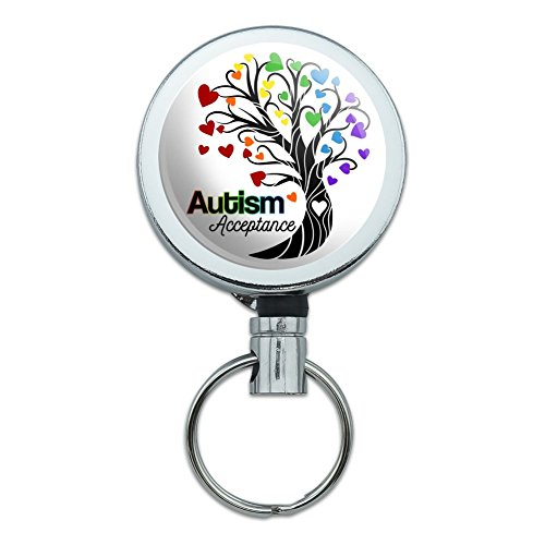 Autism Acceptance Tree of Life with Hearts Heavy Duty Metal Retractable Reel ID Badge Key Card Tag Holder with Belt Clip ()