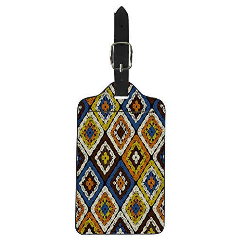 Semtomn Luggage Tag Granny Squares Pattern and Ripples Afghan Crochet of Multicolored Suitcase Baggage Label Travel Tag Labels