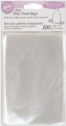 Wilton 1912-1294 100 Count Party Bags, Clear, Mega Pack Plastic Gift Bags