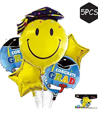 Emoji Graduation Balloons Foil Mylar Congrats Balloons Set (5Pcs):1Pc 26'Emoji Grad Head Balloon+2Pcs 21'Congrats Graduate Balloons+2Pcs 21'Gold Star Balloons Graduation Party Decorations Supplies Bouquet -