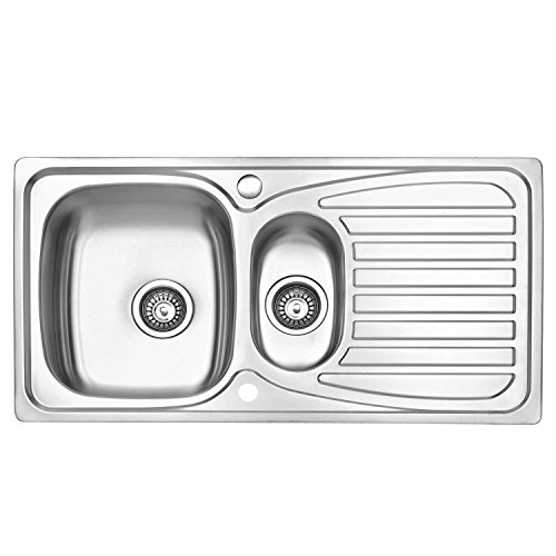 JASS FERRY Stainless Steel Kitchen Sink Inset 1.5 Bowl Reversible Drainer...