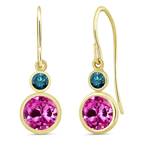 - 2.20 Ct Round Pink Created Sapphire Blue Diamond 14K Yellow Gold Earrings