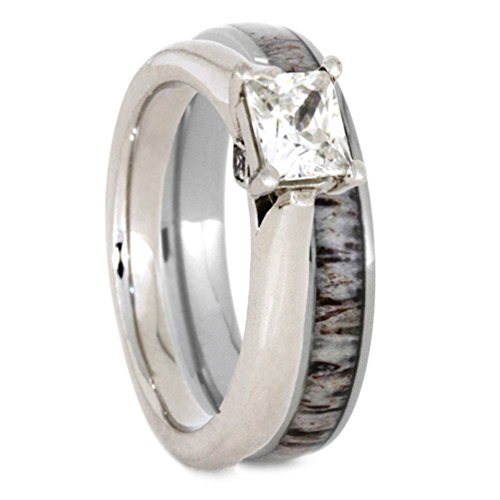 Charles & Colvard Moissanite and Diamond 10k White Gold Engagement Ring, Deer Antler Titanium Wedding Band, Bridal Set Size 12 by The Men's Jewelry Store (for HER)