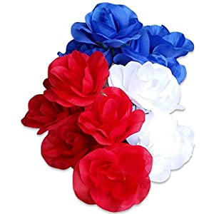 Patriotic Bouquet in Cemetery Vase with Stake Artificial Fake Flowers Bush Bundle of 4 Items- 3 Flower Bushes and 1 Vase (1 Red, 1 White, 1 Blue Rose Bush w/Vase) 9