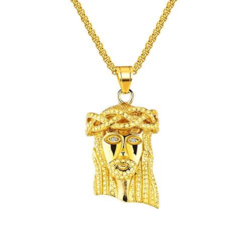 UMtrade Clásico Hombres Mujer Acero inoxidable Jesus Head Colgante Religioso Collar,55cm Caja Cadena
