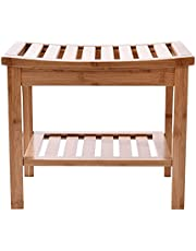 """Bamboo Shower Bench And Chair, 17"""" Waterproof Bamboo Shower Seat Bench, Wooden Bathroom Seat Stool Spa Bath Organizer, Perfect for Indoor Outdoor"""