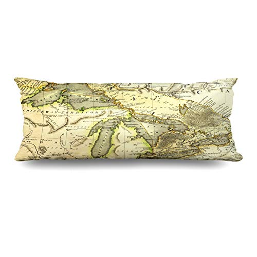 - Ahawoso Body Pillows Cover 20x54 Inches Canada Michigan Early Map Great Lakes Printed Bordeaux Historical Vintage Ontario Old Erie Antique Decorative Zippered Pillow Case Home Decor Pillowcase