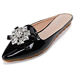 Pointed Toe Rhinestone Slip On Mules