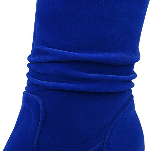 Allhqfashion Women's Pull-on Round Closed Toe Kitten-Heels Imitated Suede High-top Boots Blue Dk8uY