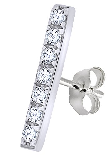 - Round Cut White Natural Diamond Minimalist Bar Single Stud Earring In 14K Solid White Gold