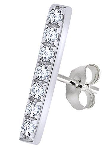 White Natural Diamond Minimalist Bar Single Stud Earring in 14K Solid White Gold by Wishrocks