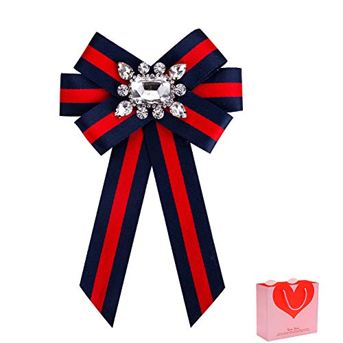 (HEKEUOR Rhinestone Crystal Ribbon brooches Bow Brooch pre-Tied Bow tie for Women Wedding Party Bow Tie (Red+Dark Blue))