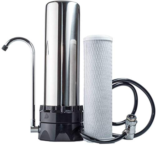 Lake Industries The Stainless Steel Countertop Water Purifier Filter (10 Micron Carbon Block) (Water Filter Countertop)