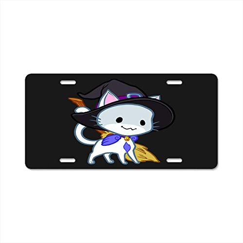 ABLnewitemFrameFF Abstract License Plate Halloween Chibi Winged Cat High Gloss Aluminum Novelty Car Licence Plate Cover Auto Tag Holder 12inch; x 6inch; -