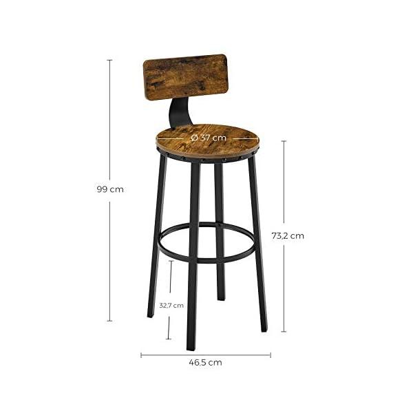VASAGLE Lot de 2, Chaises de Bar, Tabourets Hauts, avec Dossier, Siège de Cuisine, Cadre en Acier, siège de 73,2 cm de…