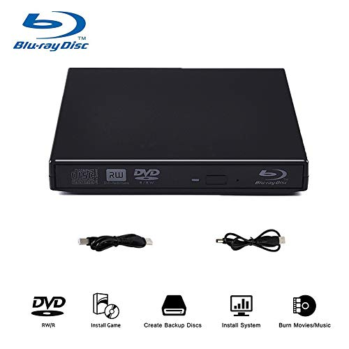 Blu-Ray Player, External USB DVD Drive Slim Portable DVD CD RAM Burner USB2.0 Combo High Speed Re-Writer Player for Laptop Notebook PC Desktop Computer