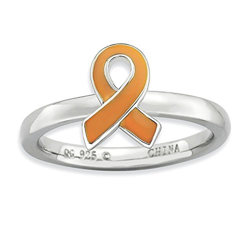 Sterling Silver Stackable Expressions Orange Enameled Awareness Ribbon Ring Size 7 from Jewelry Adviser Stackable Rings