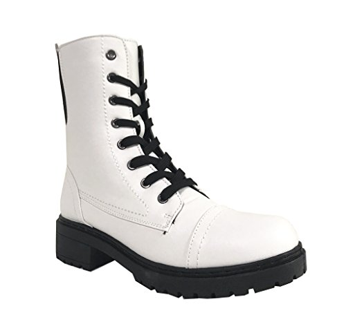 POSTAL-03A! Women's Military Lace up Lug Sole Combat Boots, White Leatherette 6 M US - Sole Combat Boots