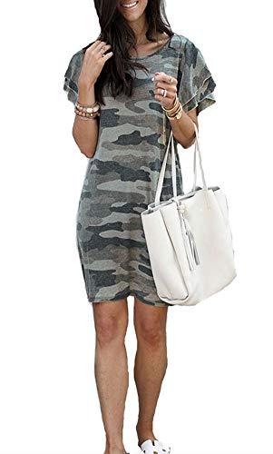 Uinolo Women's Round Neck Ruffle Short Sleeve Camo Print Summer Casual T-Shirt Dresses Camouflage Gray S ()