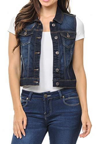 (LoveInStyle Sleeveless Button up Jean Denim Jacket Vest,Dark Blue,Small)