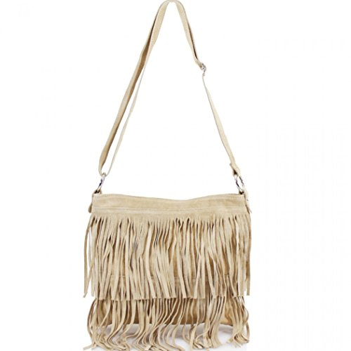 LeahWard Women's Real Leather Tassle Crossbody Bag Shoulder Handbags 12 Beige