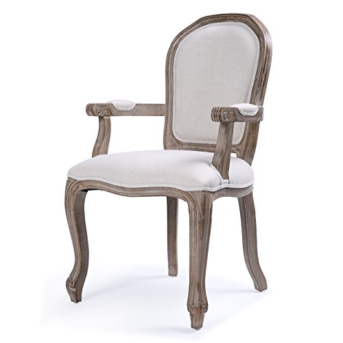(Belleze Classic Dining Room Chair Accent Elegant Linen Side High Back w/Padded Armrest Solid Wood Legs, Beige)