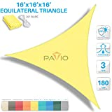 Patio Paradise 16' x 16' x 16' Canary Yellow Sun Shade Sail Equilateral Triangle Canopy - Permeable UV Block Fabric Durable Outdoor - Customized Available