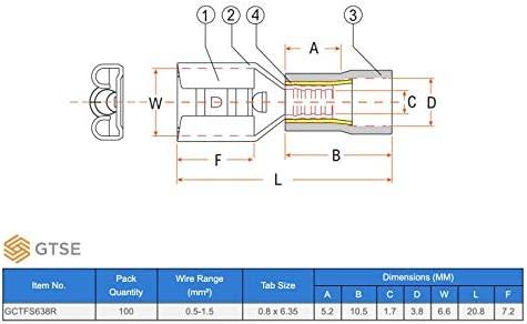 GTSE 100 unidades de terminales de pala hembra roja - 6,3 mm ...