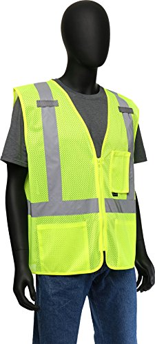 (West Chester 47209 Class 2 High Visibility Classic Mesh Vest with Mic Tabs: Green, XXX-Large)