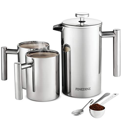 - French Press Coffee Maker Set - [5-pieces] 18/8 Stainless Steel Double Wall Vacuum Insulated Coffee Press 34 oz. with 2 Stainless Steel Coffee Mugs 16 oz, S/S Spoon, Coffee Scoop, Bonus Screen Filter