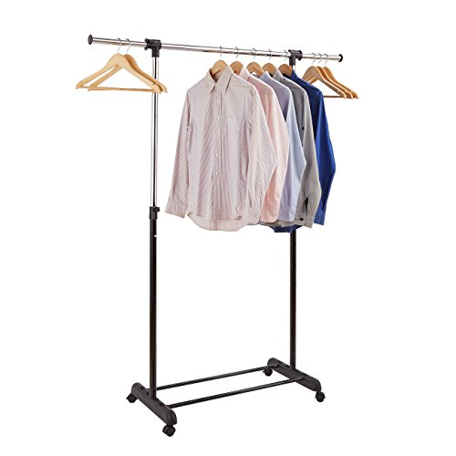 ProAid Clothes Rack by Adjustable Garment Clothing Rack, Portable Rolling Clothes Hanging Rack Single Rail for Clothes with Wheels, Black & - Rail Clothes Black