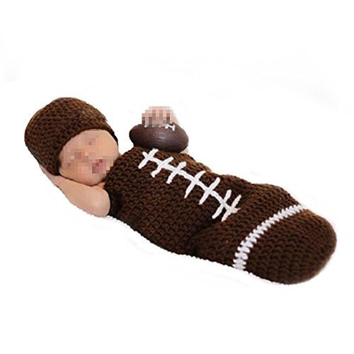 Elee Infant Football Crochet Knit Photography Prop Costume Hat Sleeping Bag (#1)]()