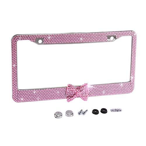 Fashion Waterproof Pink Frame W/Pink Bowtie Design Bling Crystal License Plate Frame Luxury Rhinestone Premium Stainless Steel Car/Truck/SUV License Plate Holder for Women(1 Frame) Car Truck Suv License Plate