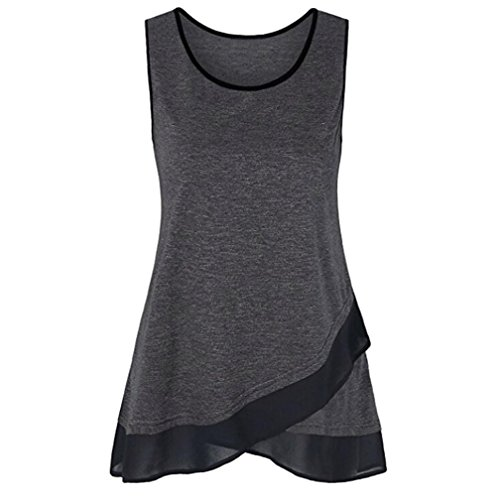 FEITONG Womens Sleeveless Scoop Neck Patchwork A Line Splicing Chiffon Casual Layered Camisole Tank(Small,Dark Gray) ()