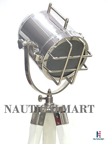 39'' Nautical Spot Marine Antique Look Designer Search Light W/white Wooden Tripod Stand by NAUTICALMART