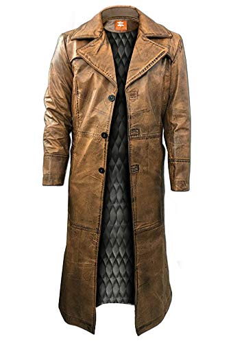 - Brown Trench Coat, Distressed Leather, Vintage Style, Below Knee Long Coat, Original Lambskin Leather (L, Quilted Lining)