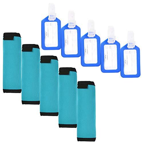 JIFF 5 PCS Comfort Neoprene Handle Wraps/Grip /Identifier for Travel Bag Luggage Suitcase + 5 PCS Travel Accessories Luggage Tag Identifier (Aqua Blue) ()