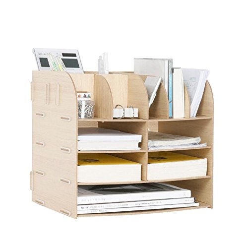 Hand Made Desk Organizer Office School Supplies 13 Blocks File Tray Book Holder Storage File/document Box