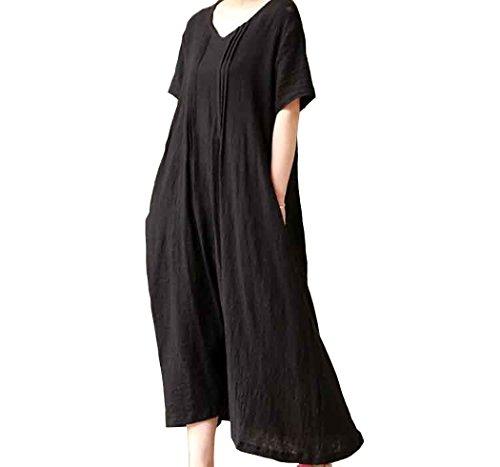 Silk Linen Dress (Aniwon Women's Mori Girl Style Sleeveless Linen Casual Loose Long Vest Dress)