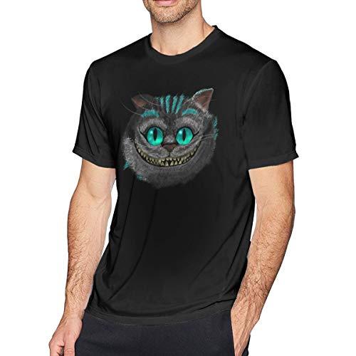 Veetor Big Face Cheshire Cat Men's Short Sleeved T-Shirt Black 5XL]()