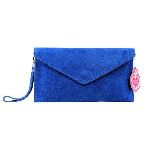 Aossta Italian Suede Large Envelope Shaped Clutch Purse handbag Clutch Party Wedding Bag (V108-R.BE)