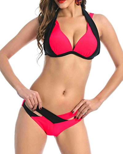 Vilania Women's Bikini Halter Top Push Up Criss Cross Double Straps Sexy Swimsuit Beachwear Two Piece Set Red ,TXZ9100-Red-L